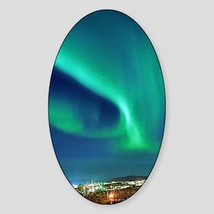 Northern lights over Murmansk Sticker (Oval)