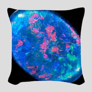 Single piece of blue opal Woven Throw Pillow