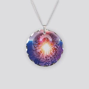 Electronic world, artwork Necklace Circle Charm