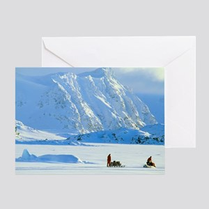 Skidoo and sledge transport, Antarct Greeting Card