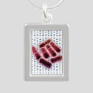 E coli bacteria, artwork Silver Portrait Necklace