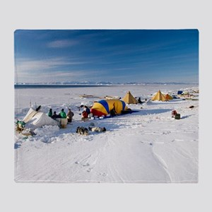 Seal hunting base camp, Greenland Throw Blanket