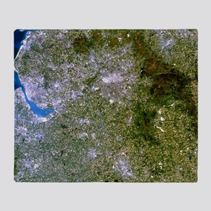Satellite image of Liverpool and Man Throw Blanket