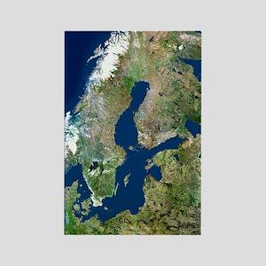 Scandinavia, satellite image Rectangle Magnet