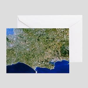 Satellite image of southwest England Greeting Card