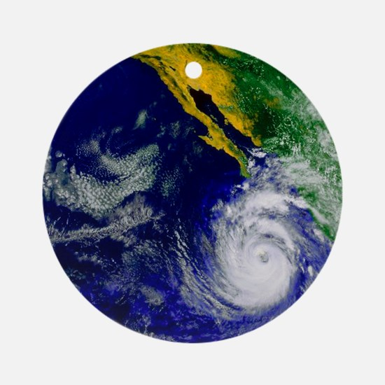 Satellite image of Hurricane Nora o Round Ornament