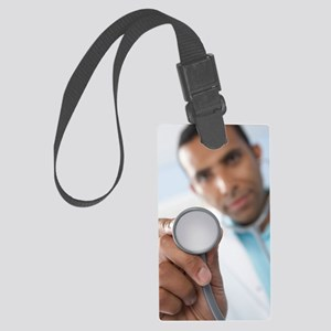 Doctor using a stethoscope Large Luggage Tag