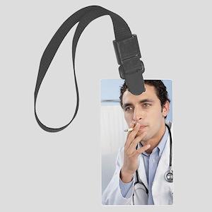 Doctor smoking Large Luggage Tag