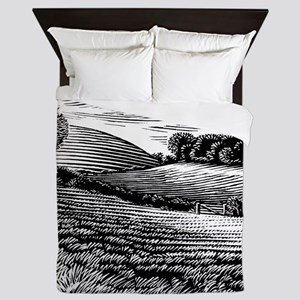 Rural landscape, woodcut Queen Duvet