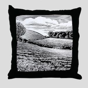 Rural landscape, woodcut Throw Pillow
