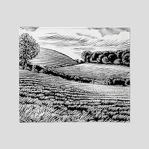 Rural landscape, woodcut Throw Blanket
