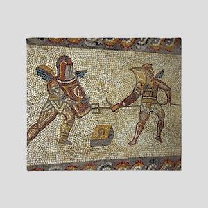 Roman mosaic of gladiators Throw Blanket