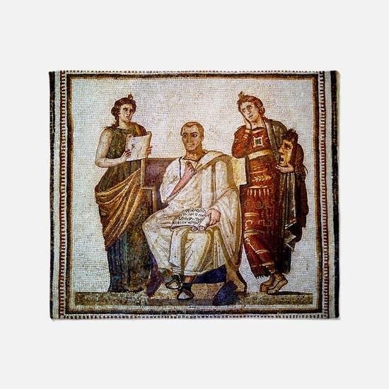 Roman mosaic Throw Blanket