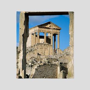Roman capitol at Dougga, Tunisia Throw Blanket
