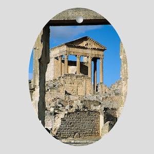 Roman capitol at Dougga, Tunisia Oval Ornament