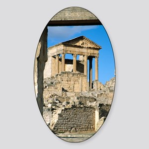 Roman capitol at Dougga, Tunisia Sticker (Oval)