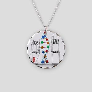 DNA construction, artwork Necklace Circle Charm