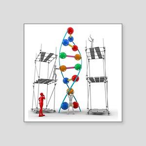 "DNA construction, artwork Square Sticker 3"" x 3"""