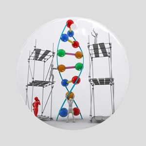 DNA construction, artwork Round Ornament