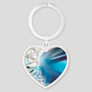DNA molecule, artwork Heart Keychain