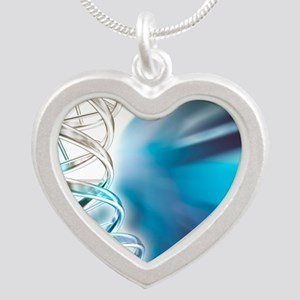 DNA molecule, artwork Silver Heart Necklace