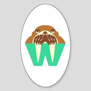W is for Walrus Oval Sticker