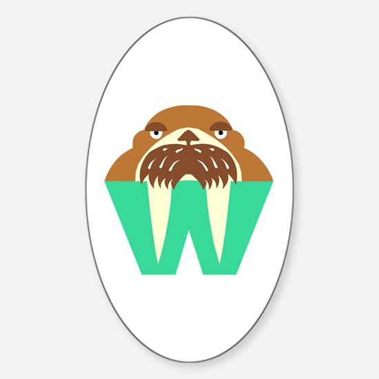 W is for Walrus Oval Decal