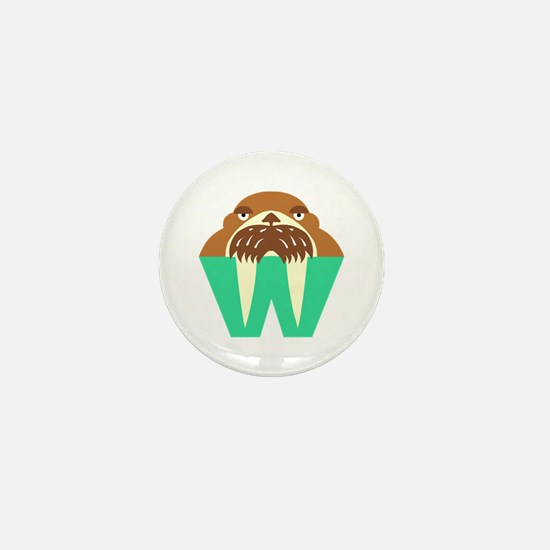 W is for Walrus Mini Button