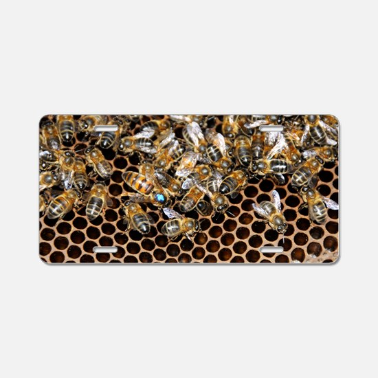 Queen bee with worker bees Aluminum License Plate
