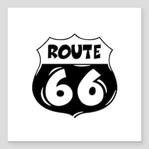 """Festive Route 66 Square Car Magnet 3"""" x 3"""""""