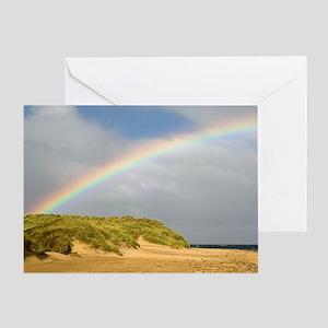 Rainbow over sand dunes Greeting Card