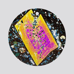 Pyroxene crystal, thin section Round Ornament