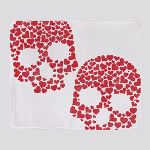 Heart Skull Throw Blanket