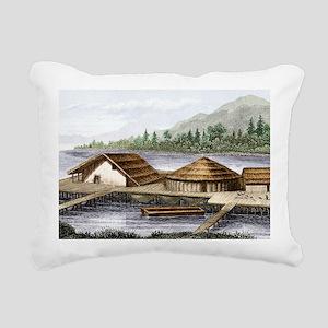 Prehistoric lake village Rectangular Canvas Pillow
