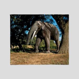 Prehistoric elephant, artwork Throw Blanket