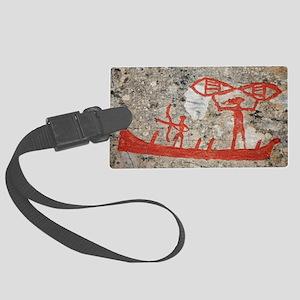Prehistoric rock petroglyph Large Luggage Tag