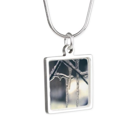 Frozen Time Silver Square Necklace