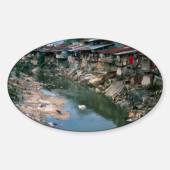 Polluted river running through a Ma Sticker (Oval)