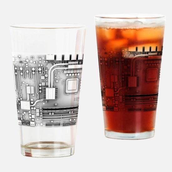 Computer motherboard, artwork Drinking Glass