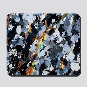 Polarised LM of thin section of gneiss Mousepad