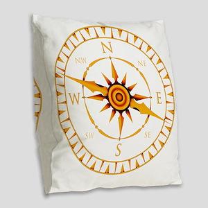 Compass rose Burlap Throw Pillow