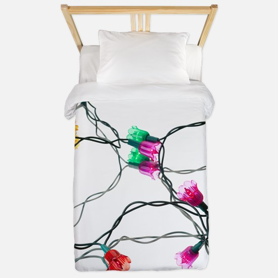 Coloured Christmas tree lights Twin Duvet