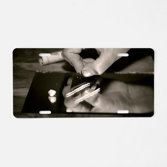 Cocaine use Aluminum License Plate