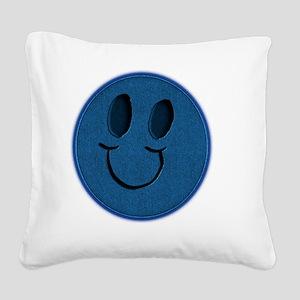 Blue Jeans Smiley Square Canvas Pillow