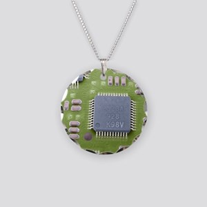 Circuit board microchip, SEM Necklace Circle Charm