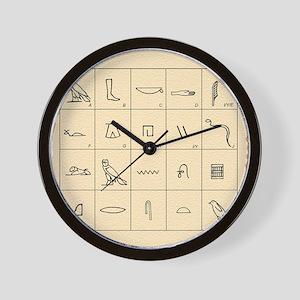 Phonetic Egyptian hieroglyphs Wall Clock