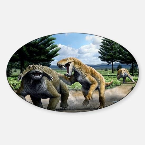 Permian animals, artwork Sticker (Oval)