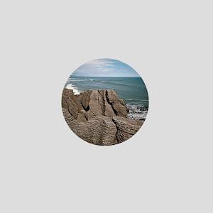 Pancake Rocks, South Island, New Zeala Mini Button