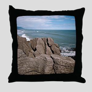 Pancake Rocks, South Island, New Zeal Throw Pillow