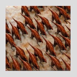 Parasaurolophus dinosaur herd Tile Coaster